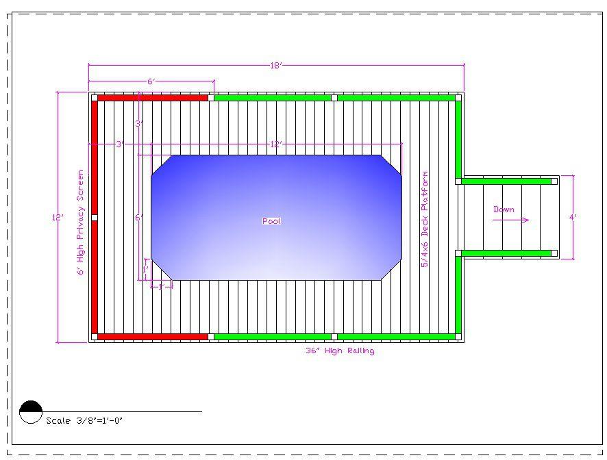 Рисунок 1. План террасы вокруг бассейна