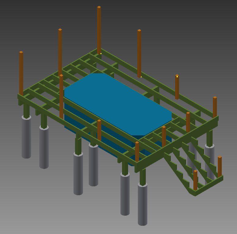 Рисунок 8. Схема закрепленных столбиков для ограждения