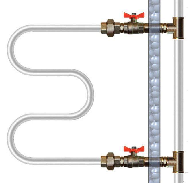 Простейшая схема подключения полотенцесушителя к трубе ГВС