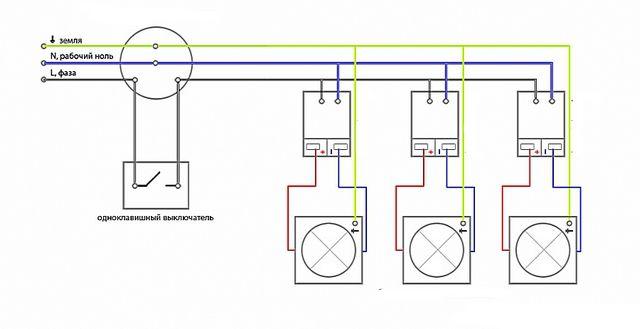 Параллельное подключение светильников с индивидуальными трансформаторами-драйверами