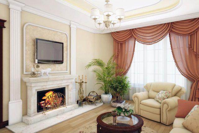 Отделка гостиной обычно предполагает спокойные цвета, выдержанные в определенном стиле