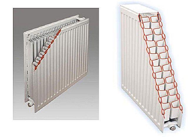 Разрез панельного стального радиатора