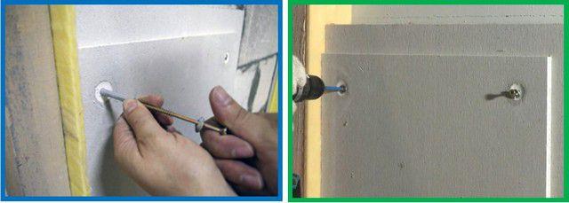 Крепление панели к стене дюбелями через монтажные силиконовые узлы