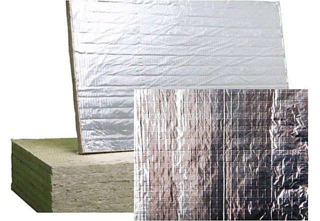 Фольгированная поверхность плит для утепления бань