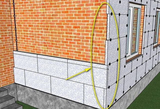 Замковое зубчатое сопряжение плит на углу