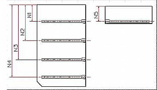 Расположение направляющих для ящиков на боковых стенках