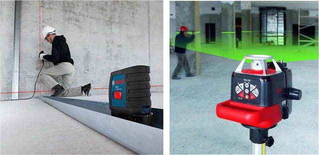 Лазерные уровни с красным и зеленым лучами