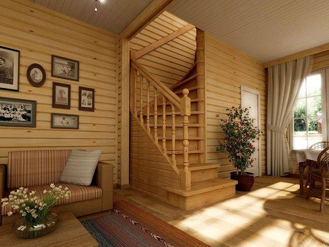 Под криволинейной лестницей оборудовано отдельное помещение