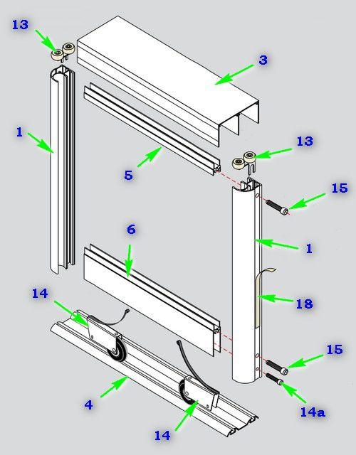 Схема сборки двери с использованием вертикального профиля С
