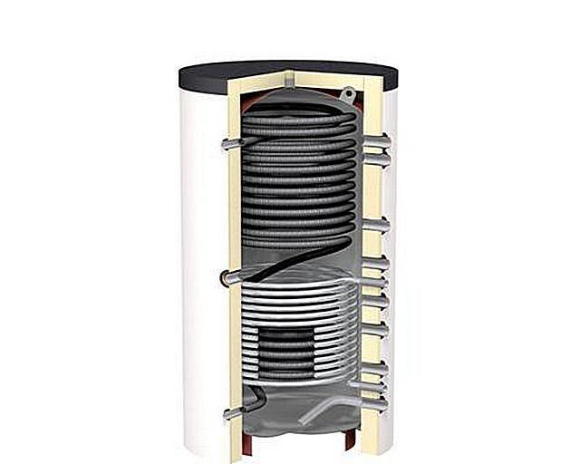 Разнесенные по вертикали патрубки подключения контуров позволяют оптимально использовать образующийся в теплоаккумуляторе температурный градиент