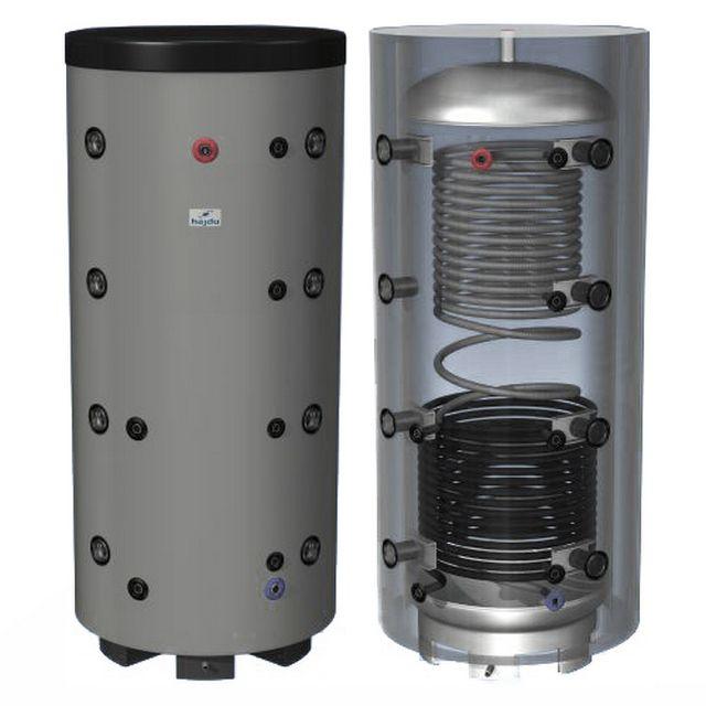 Теплоаккумулятор из нержавеющей стали, с крышками тороидальной формы, заключенный в термоизоляционный кожух.