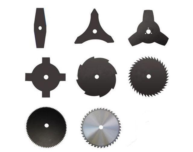Различные типы ножей и фрез для бензокосы