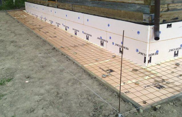 Стыковка вертикального и горизонтального утеплительных поясов и установка армирующей сетки