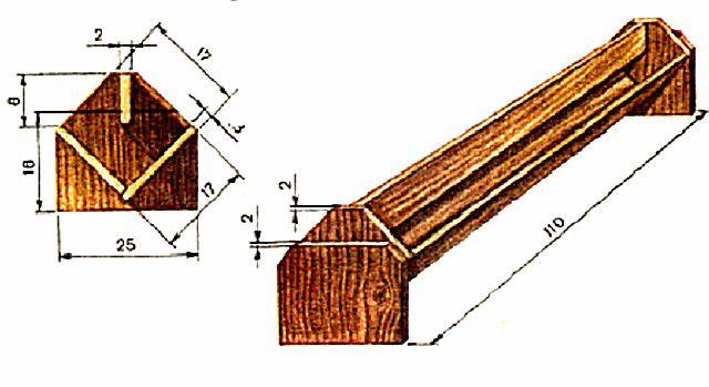 Примерная схема длинной желобнойдеревянной кормушки для уток
