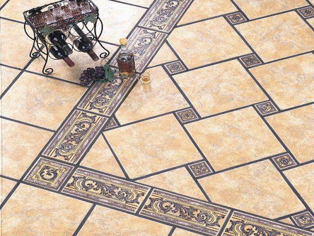 Мозаичная укладка керамической плитки на пол способна визуально расширить тесное пространство