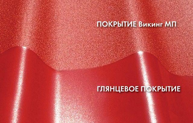 Наглядное сравнение одного цвета профнастила, но в глянцевом и матовом исполнениях