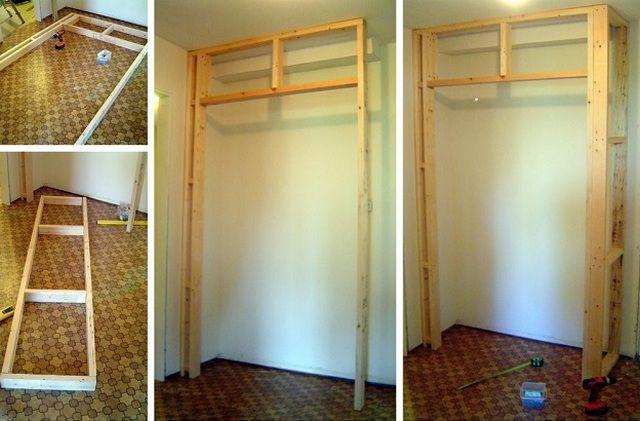 Изготовление из бруса каркасной конструкции для встроенного шкафа