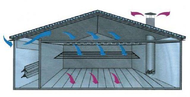 Схема потолочно-распределительной вентиляционной системы свинарника