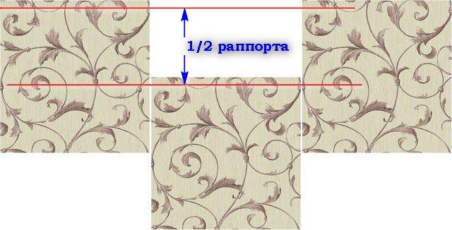 Пример стыковки полотен с вертикальным смещением рисунка