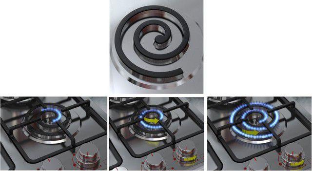 Оригинальное решение по регулировке теплоотдачи газовой конфорки спиральной конфигурации