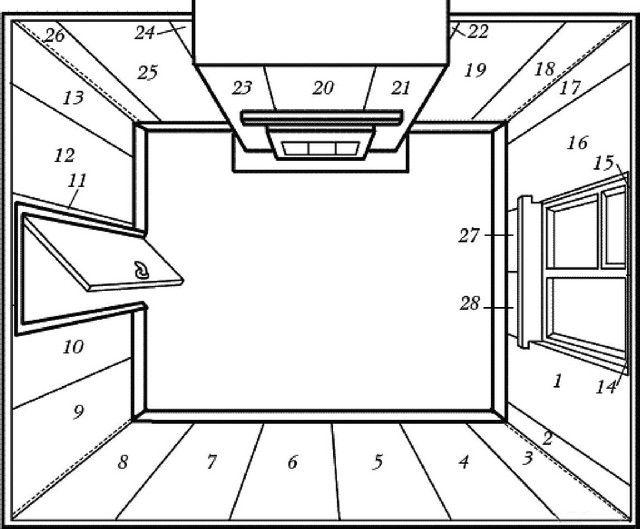 Возможный вариант схемы оклейки комнаты обоями со стартом от окна