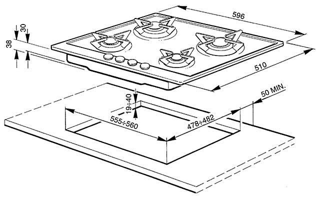 Типичные размеры четырехконфорочной газовой варочной панели