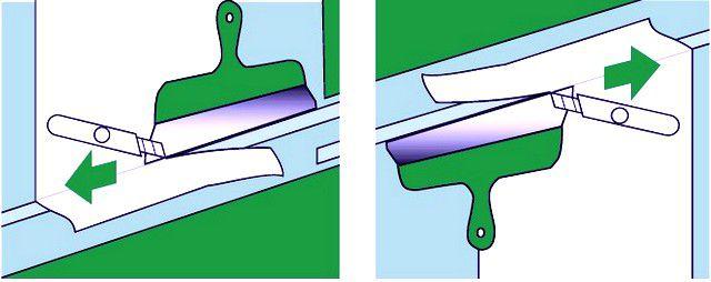 Приемы точной обрезки приклеенного листа по месту – по линии плинтуса – снизу, и потолочного бордюра – сверху.