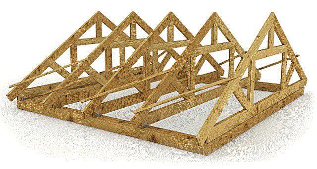Стропильные треугольные фермы могут собираться внизу, на земле, по общему шаблону, и потом уже в готовом виде устанавливаться с заданным шагом на мауэрлат