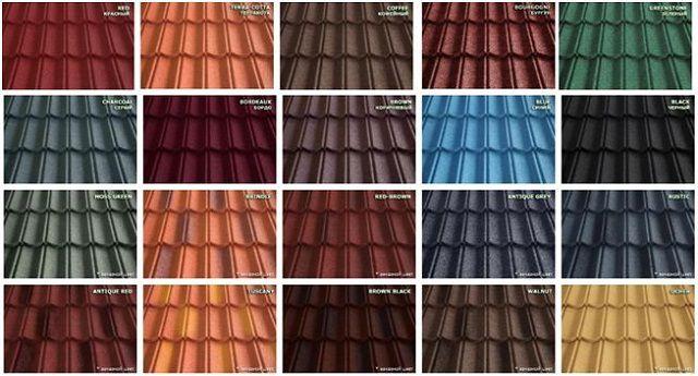 Металлочерепица одной и той же модели может выпускаться в широком цветовом разнообразии