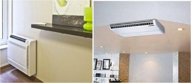 Варианты установки внутренних блоков напольно-потолочного типа
