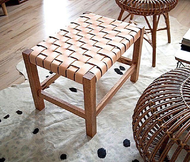 Оригинальная «мягкая» конструкция – табурет с плетеным сиденьем