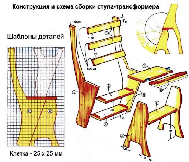 Лекала и сборочный чертеж стула-трансформера