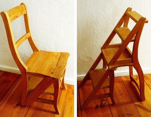 Лёгким движением стул превращается в удобную стремянку