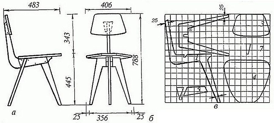 Пример чертежа несложного в изготовлении стула из фанеры с лекалами для разметки деталей