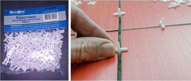 Упаковка калибровочных крестиков и их установка между плитками