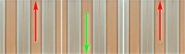 Каждое последующее полотно поворачивается на 180 градусов