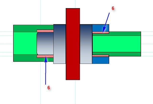 Принцип муфтовой сварки ПП-труб, схема №2