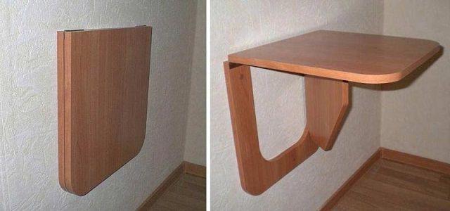 При складывании подобный столик практически не занимает места, выступая от стены всего на 40 мм