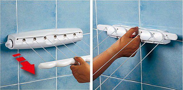 Такой инерционный блок не портит интерьера помещения, и позволяет быстро натянуть веревки для белья по мере необходимости.