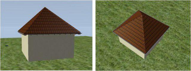 Так будет выглядеть «классическая» шатровая крыша на абстрактно взятом доме со стенами в форме квадрата
