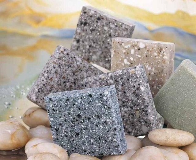 Образцы акрилового камня различного оформления