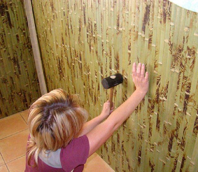 Отделка стен бамбуковыми обоями – достаточно сложное занятие
