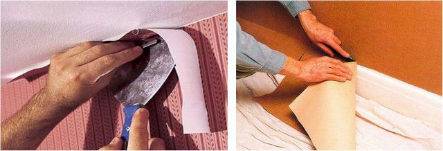 Обои необходимо клеить с припуском сверху и снизу, который затем срезается по ровной линии острым ножом