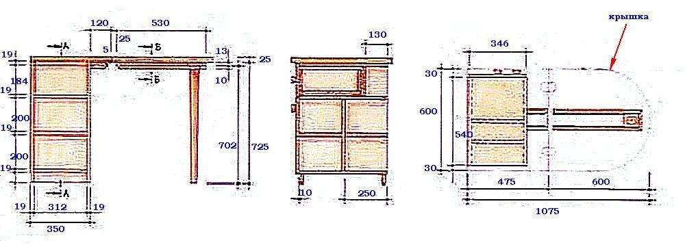 Основные размерные параметры стола-тумбы