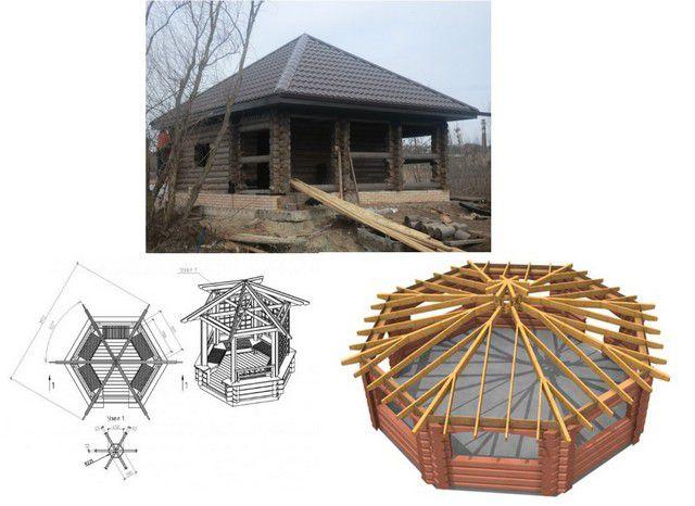 Шатровая крыша не всегда прямоугольная в плане – она может опираться на шесть, восемь и даже больше углов
