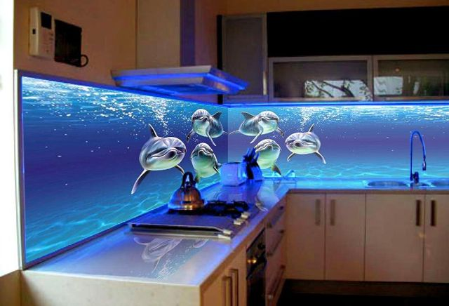 3Д стеклянный фартук (Дорогущие Дизайнерские Дельфины)