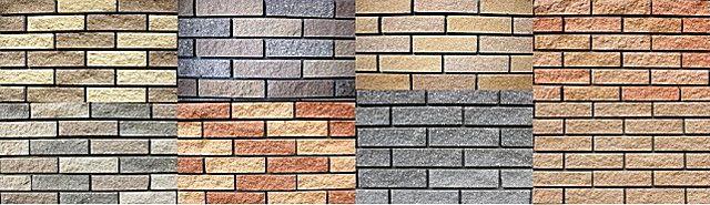 Различные цветовые варианты облицовочной клинкерной плитки «под кирпич»