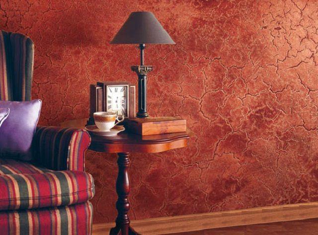 Оригинальное оформление стены декоративной штукатуркой
