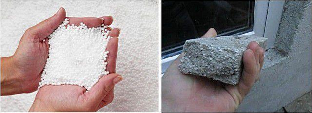 Гранулы вспененного полистирола (слева) и фрагмент застывшей теплой штукатурки с подобным заполнением