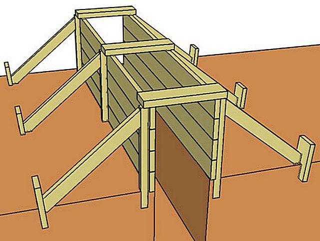 Один из вариантов – опалубка ставится только на цокольной части фундамента.